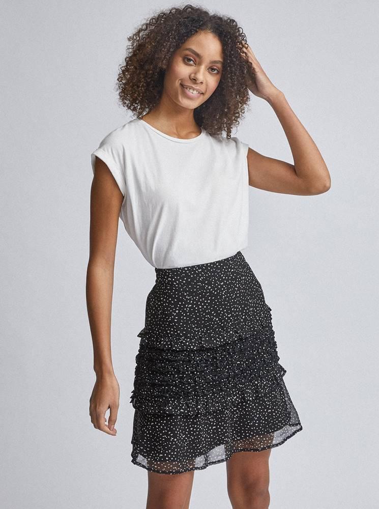 Dorothy Perkins Čierna vzorovaná sukňa s volánmi Dorothy Perkins