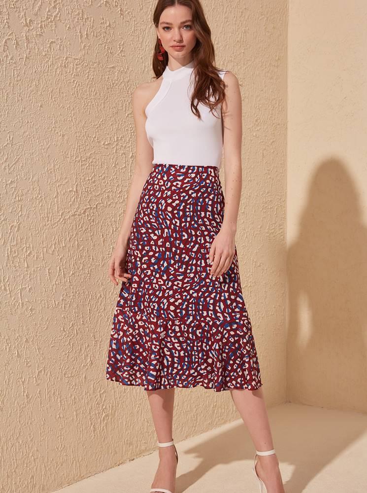 Trendyol Vínová sukňa s leopardím vzorom Trendyol