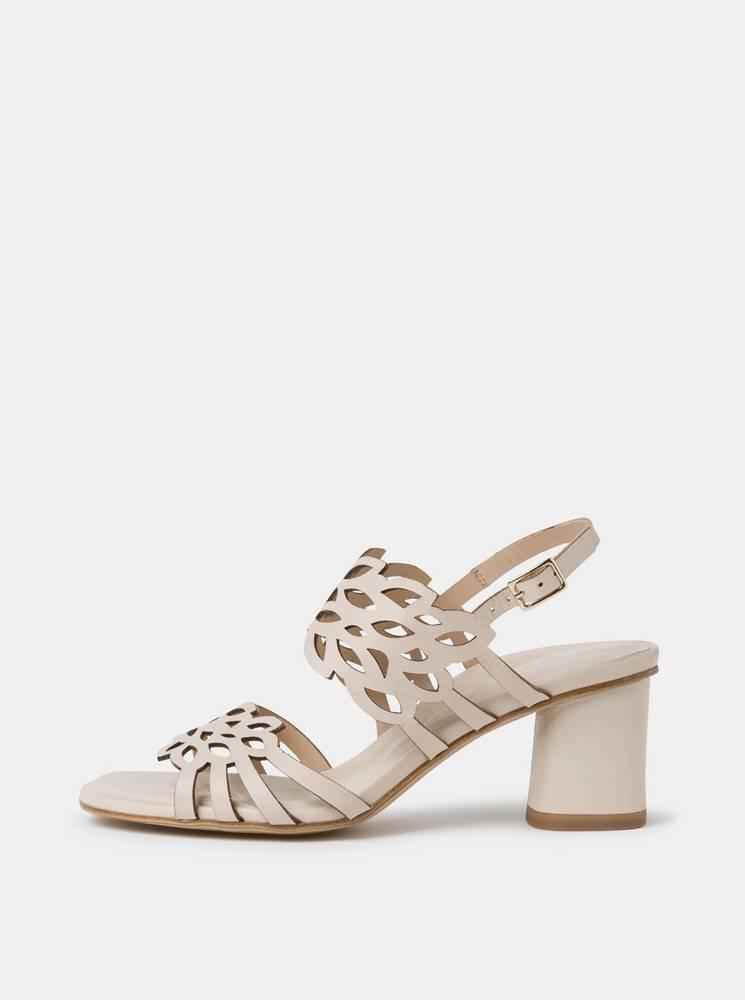 Tamaris Krémové kožené sandálky Tamaris