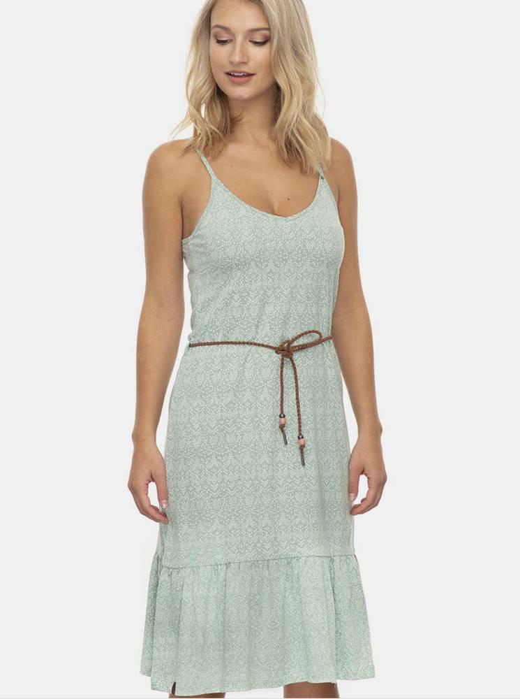 Ragwear Svetlozelené vzorované šaty Ragwear Entie