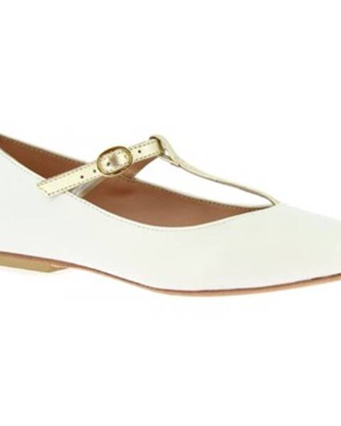 Biele balerínky Leonardo Shoes