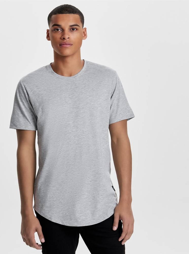 ONLY & SONS Svetlosivé žíhané basic tričko ONLY & SONS Matt