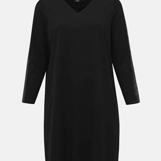 Zizzi Čierne šaty s flitrami na rukávoch Zizzi My