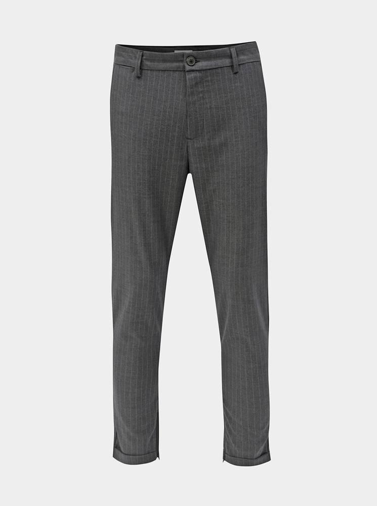 Selected Homme Sivé pruhované skrátené nohavice Selected Homme Alex