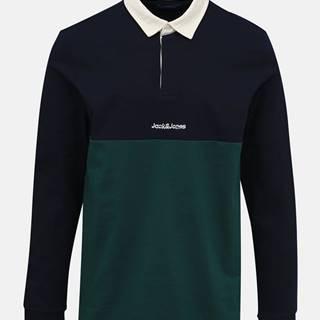 Zeleno-modrá polokošeľa Jack & Jones Rugby