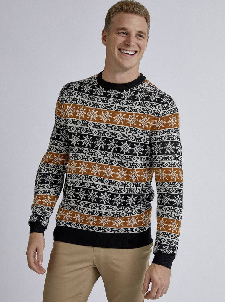 Hnedo-čierny sveter s viano...