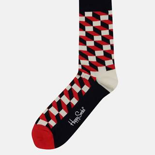 Happy Socks Červeno-bielo-modré unisex vzorované ponožky Happy Socks Filled Optic