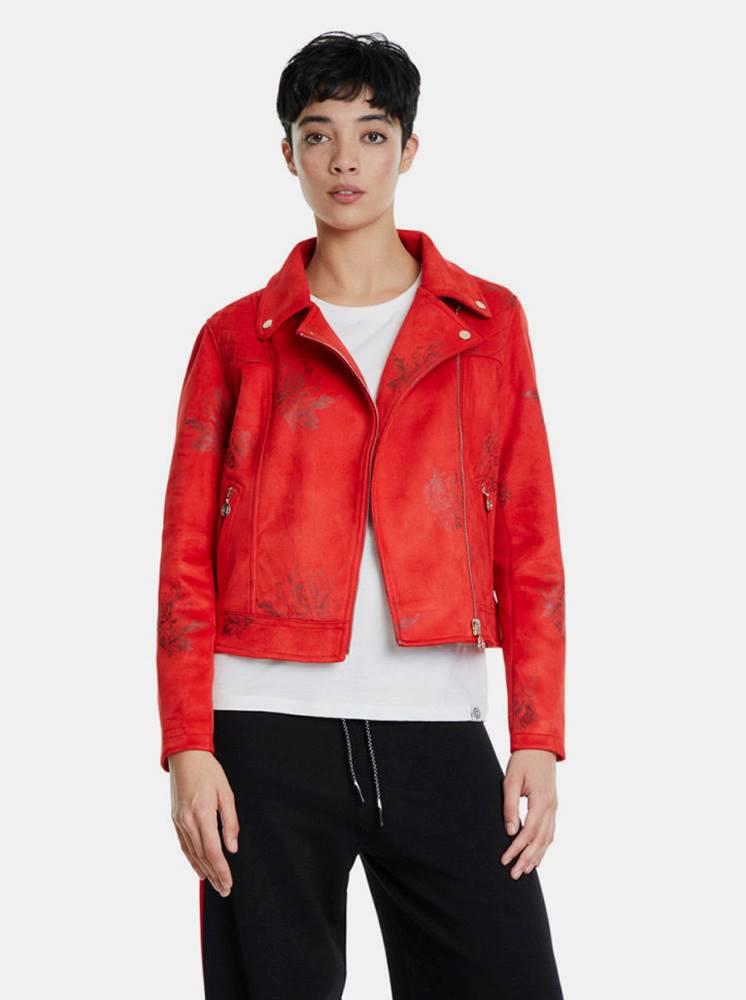 Desigual Červená kvetovaná bunda v semišovej úprave Desigual
