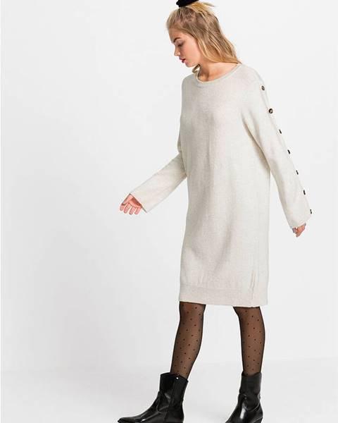 Béžové pletené šaty bonprix