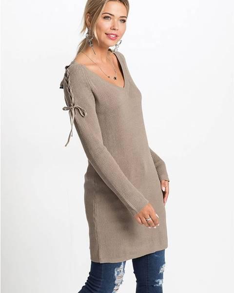 Hnedé pletené šaty bonprix