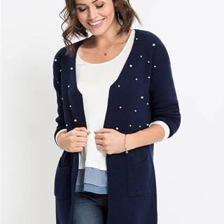 Dlhý pletený sveter s perlami