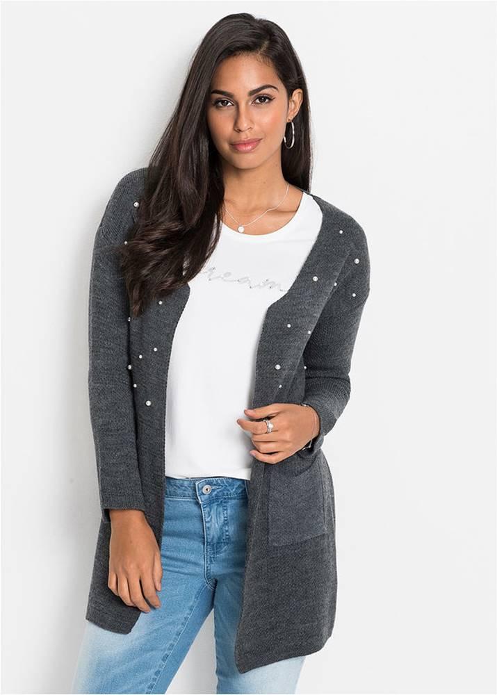 bonprix Dlhý pletený sveter s perlami