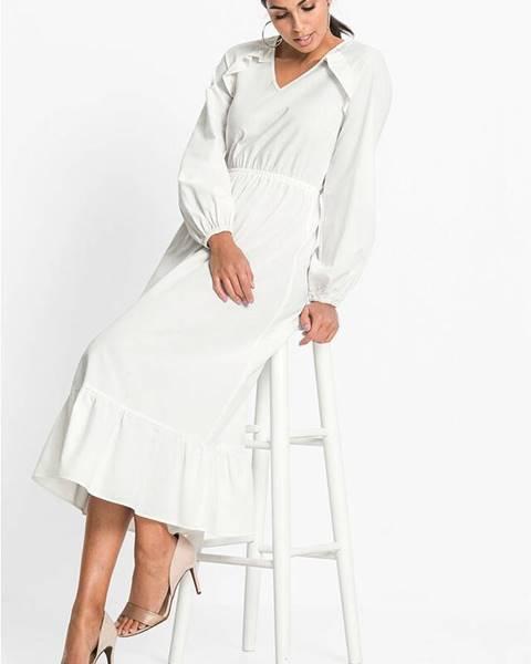 bonprix Volánikové šaty s podielom ľanu