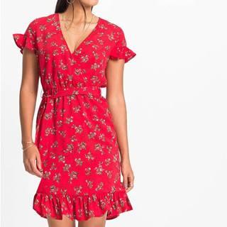 Potlačené šaty s volánom