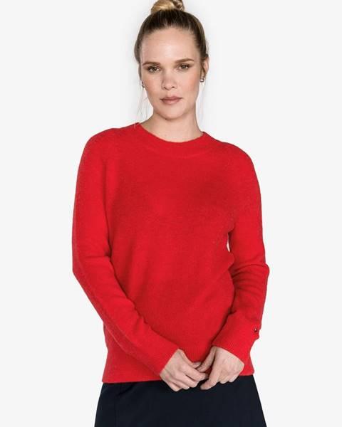 Červený sveter s okrúhlym výstrihom Tommy Hilfiger