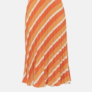 Oranžová pruhovaná plisovaná midi sukňa ONLY Agnes