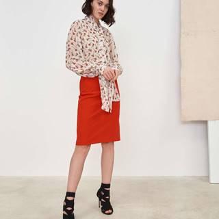 Dámska puzdrová sukňa s imitáciou ručného prešitia  červená