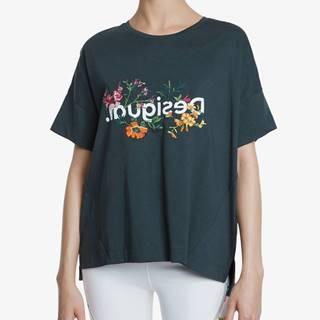 Tričko Desigual Tshirt Oversize Flowers Čierna