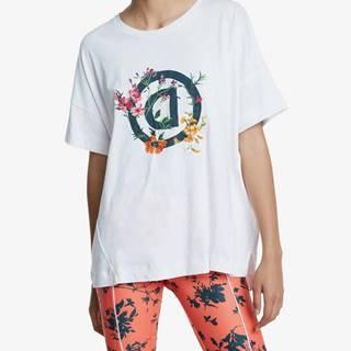 Desigual  Tričko Desigual Tshirt Oversize Gardens Logo Biela