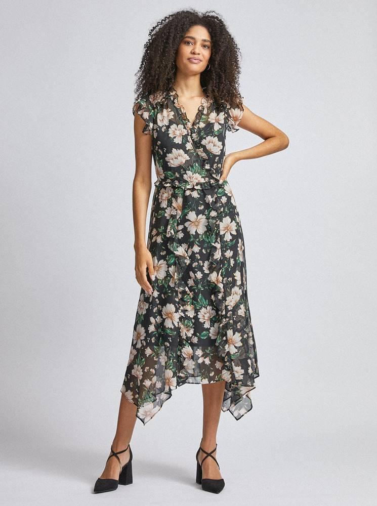 Dorothy Perkins Čierne kvetované midi šaty Dorothy Perkins