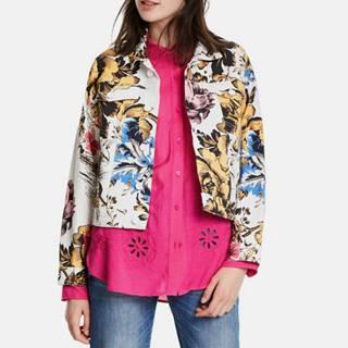 Biela kvetovaná rifľová bunda Desigual