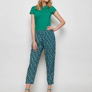 Zeleno-modré vzorované skrátené nohavice Tranquillo