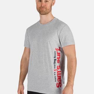 Svetlošedé pánske tričko s potlačou SAM 73