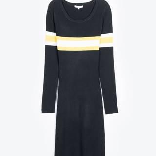 Rebrované obtiahnuté šaty s prúžkami