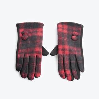 Kárované rukavice s gombíkmi