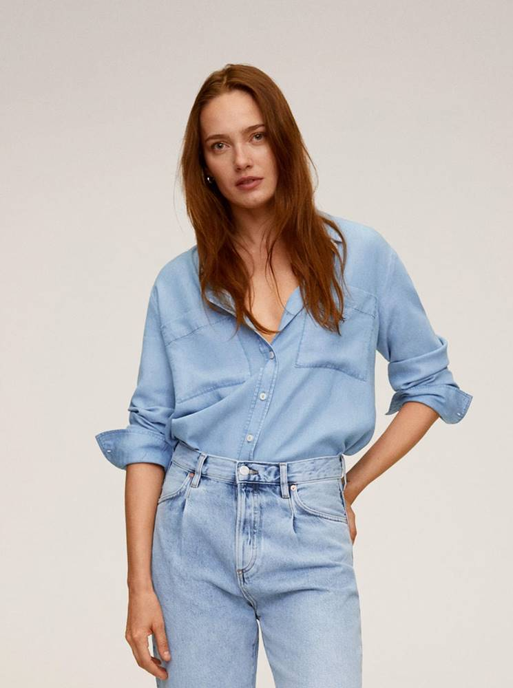 Mango Modrá rifľová košeľa Mango Classic